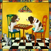 Check Mate Painting of 2 dogs playing checkers