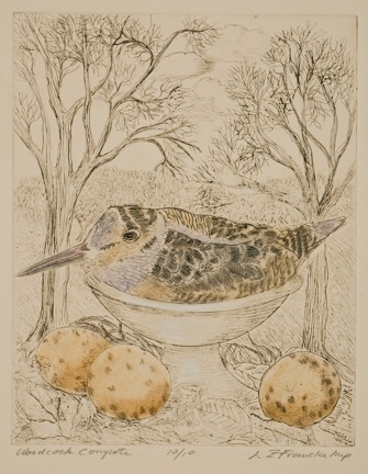 "Woodcock Compote Hand tinted etching 8""x6"" Louise Francke"