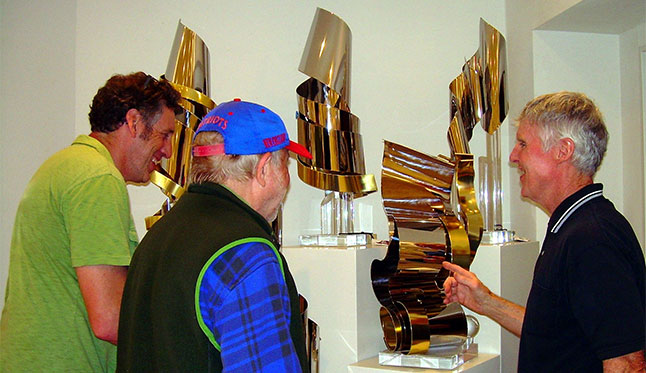Visitors Talk with Dan Murphy about this Sculptures