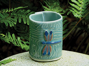 Dragonfly Tea Bowl, porcelain by Barbara Higgins