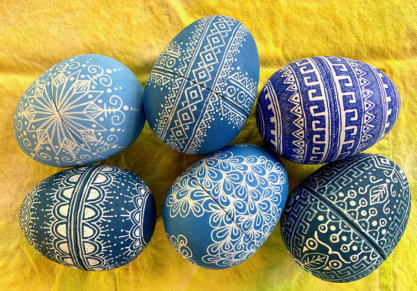 Art In Quarantine Featured - Blue Decorated Eggs By Susan Brubaker Knapp