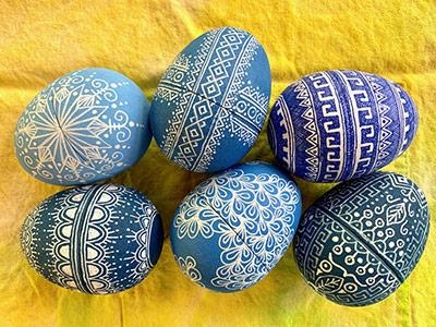 Blue decorated eggs by Susan Brubaker Knapp